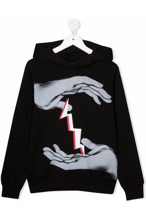Neil Barrett Thunderbolt graphic-print cotton hoodie