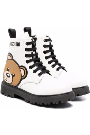Moschino Girls Ankle Boots - Teddy bear-print lace-up boots
