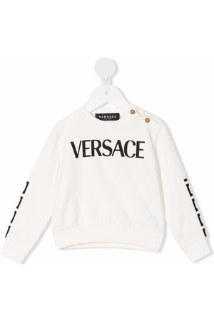 VERSACE Logo-print stretch-cotton sweatshirt