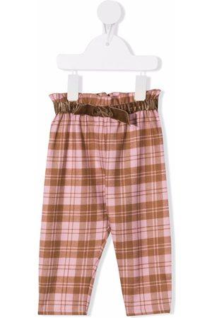 Il gufo Plaid-check paperbag trousers