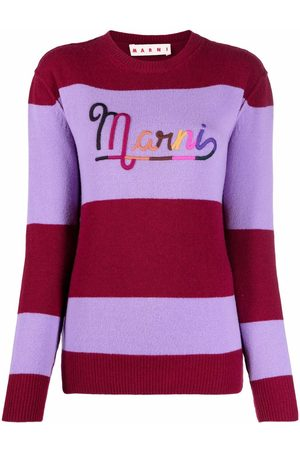 Marni Women Jumpers - Logo-embroidered striped jumper