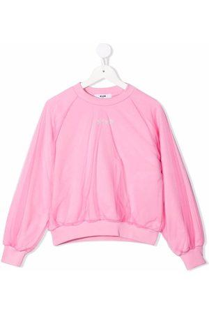 Msgm Girls Sweatshirts - Tulle-layered cotton sweatshirt
