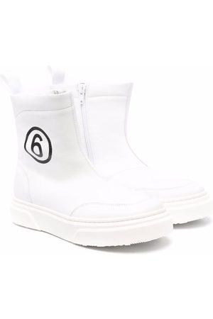 MM6 KIDS TEEN logo-print leather boots