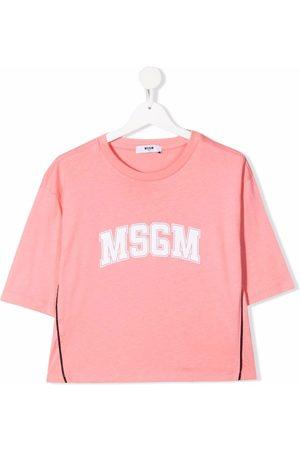 Msgm TEEN logo-print cropped T-Shirt
