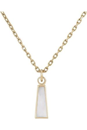 Metier by Tom Foolery 9kt yellow mother of pearl long trapezoid plaque