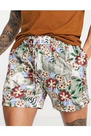 ASOS Men Sets - Co-ord slim shorter shorts with elasticated waist in satin floral print-Multi