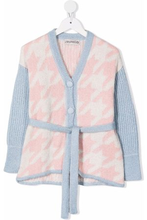 Simonetta Houndstooth-knit belted cardigan