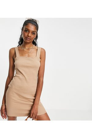 ASOS Tall square neck bodycon in rib in natural-Neutral