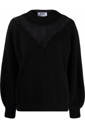 Msgm Knitted tulle v-neck sweater