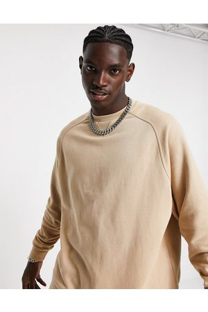 ASOS Co-ord oversized sweatshirt with panel detail in rib-Neutral