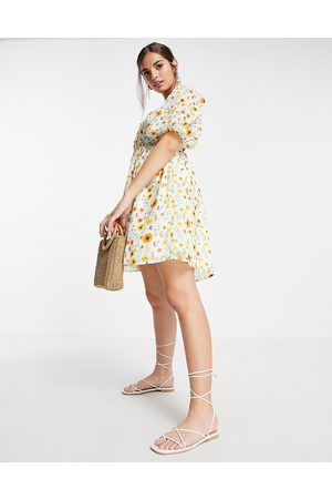 ASOS Shirred waist belted mini dress in botanical floral print-Multi