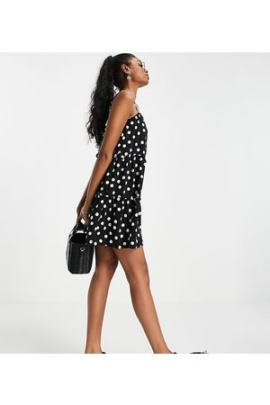 ASOS Tall strappy sundress with tiered frill detail in mono polka dot
