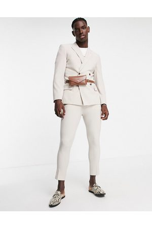 ASOS DESIGN Tapered suit trousers in grey-Neutral