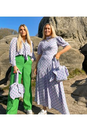 Labelrail X Olivia & Alice midi dress with asymmetric seam detail in contrast spot