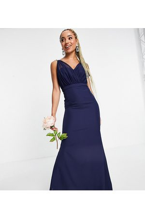Missguided Bridesmaid bandeau gown with organza detail in navy