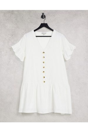 In The Style X Jac Jossa button down frill smock dress in