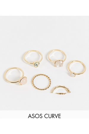 ASOS Curve ASOS DESIGN Curve pack of 6 rings with pastel coloured stones in tone