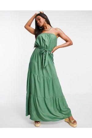ASOS DESIGN Bandeau tiered maxi beach dress in khaki