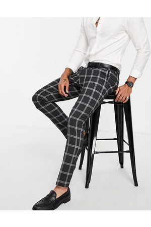 ASOS DESIGN Skinny suit trousers with prince of wales check charcoal