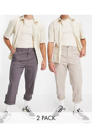 ASOS DESIGN 2 pack relaxed skater chinos in charcoal and beige save-Multi