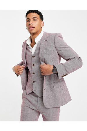 ASOS DESIGN Wedding super skinny wool mix suit jacket in burgundy puppytooth