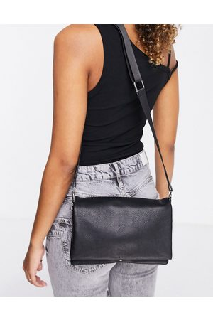 ASOS DESIGN Leather multi gusset cross body bag with wide strap