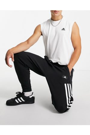 adidas performance Adidas Training oversized joggers with wrap three stripes in
