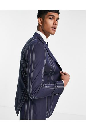 Selected Homme Slim fit suit jacket in navy and white stripes-Multi