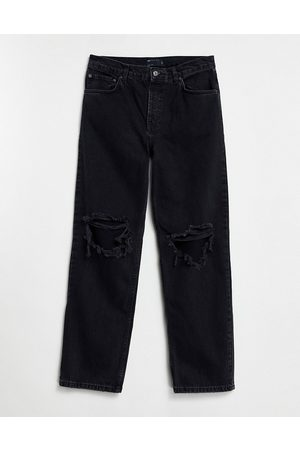 ASOS DESIGN Low rise straight leg jeans in washed with knee rips