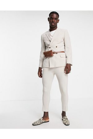 ASOS DESIGN Skinny double breasted suit jacket in stone with belt bag-Neutral