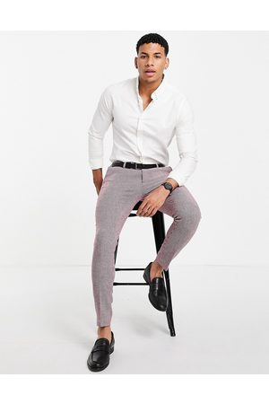 ASOS DESIGN Wedding super skinny wool mix suit trousers in burgundy puppytooth