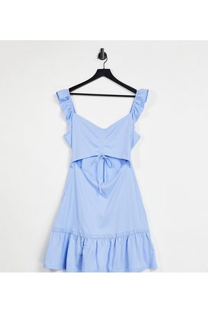 ASOS DESIGN Tall cut out sundress with ruffle shoulder in chambray