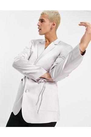ASOS DESIGN Slim satin wrap detailing suit jacket in