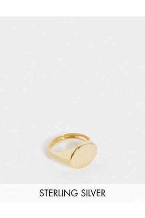 ASOS DESIGN Sterling silver signet ring in 14k plate