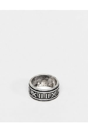 ASOS DESIGN Band ring with roman numerals in burnished tone