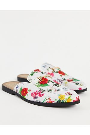 Truffle Collection Floral print metal trim mule loafers-Multi