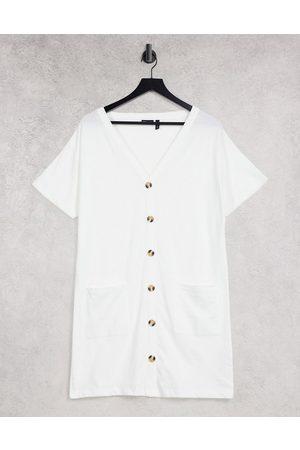 ASOS DESIGN Button through t-shirt dress in