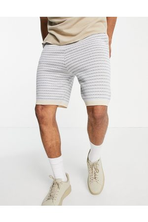 ASOS DESIGN Knitted co-ord shorts with geo pattern in light