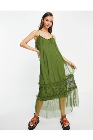 Vila Cami maxi dress with tulle tiered skirt in khaki