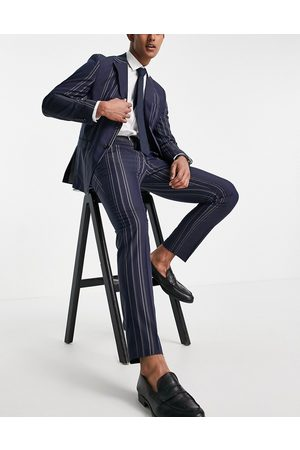 Selected Homme Slim fit suit trousers in navy and white stripes-Multi