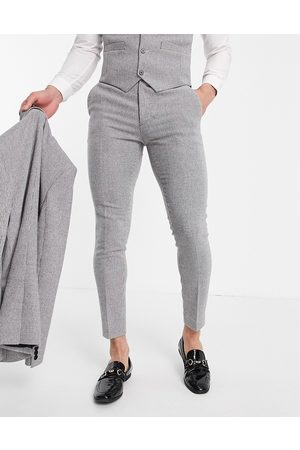 ASOS DESIGN Wedding super skinny wool mix suit trousers in puppytooth
