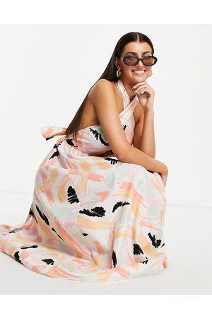 ASOS DESIGN Halter neck midi dress in abstract print-Multi