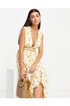 ASOS DESIGN Ruched waist midi tea dress in floral print-Multi