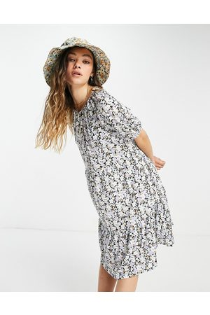 Only Mini smock dress with open back in ditsy floral-Multi