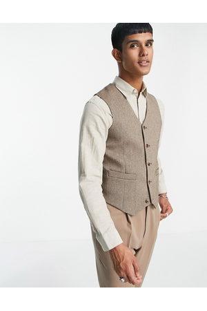 ASOS DESIGN Skinny wool mix waistcoat in twill