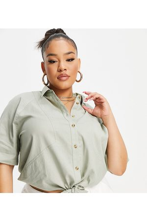 ASOS Curve ASOS DESIGN Curve linen short sleeve shirt with tie front in washed khaki