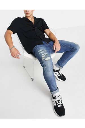 Only & Sons Slim fit jeans with rips in midwash