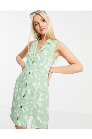 ASOS DESIGN Sleeveless button through mini dress in ditsy print-Multi