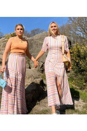 Labelrail X Olivia & Alice maxi dress with split skirt detail in bright stripe