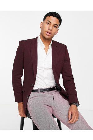 ASOS DESIGN Wedding skinny wool mix suit jacket in burgundy herringbone
